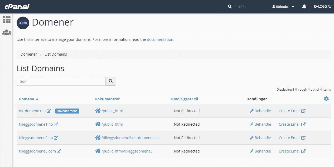 Nytt ikon i cPanel