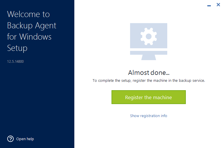 Register the computer in Acronis Cyber Cloud