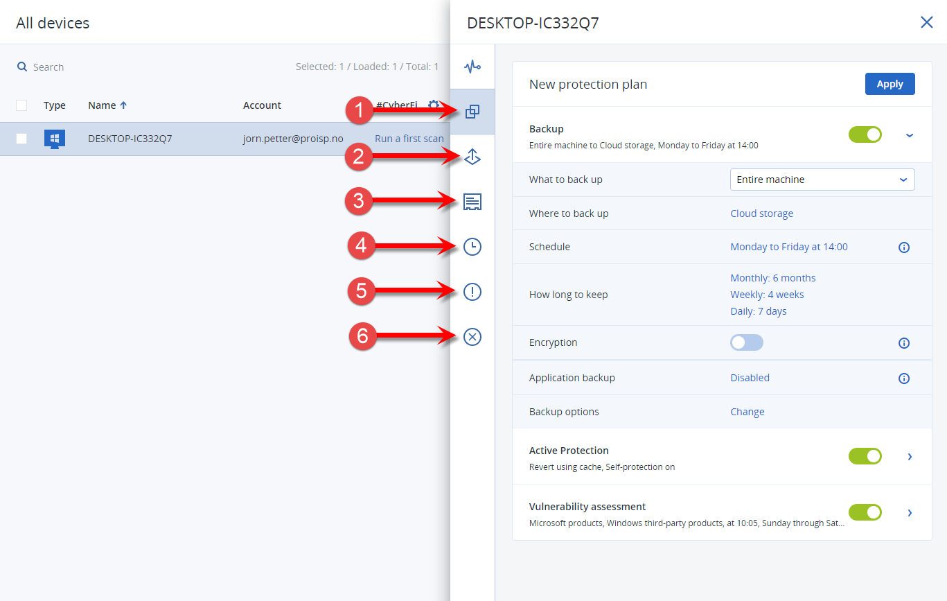Explanation of the backup settings in Acronis Cyber Cloud