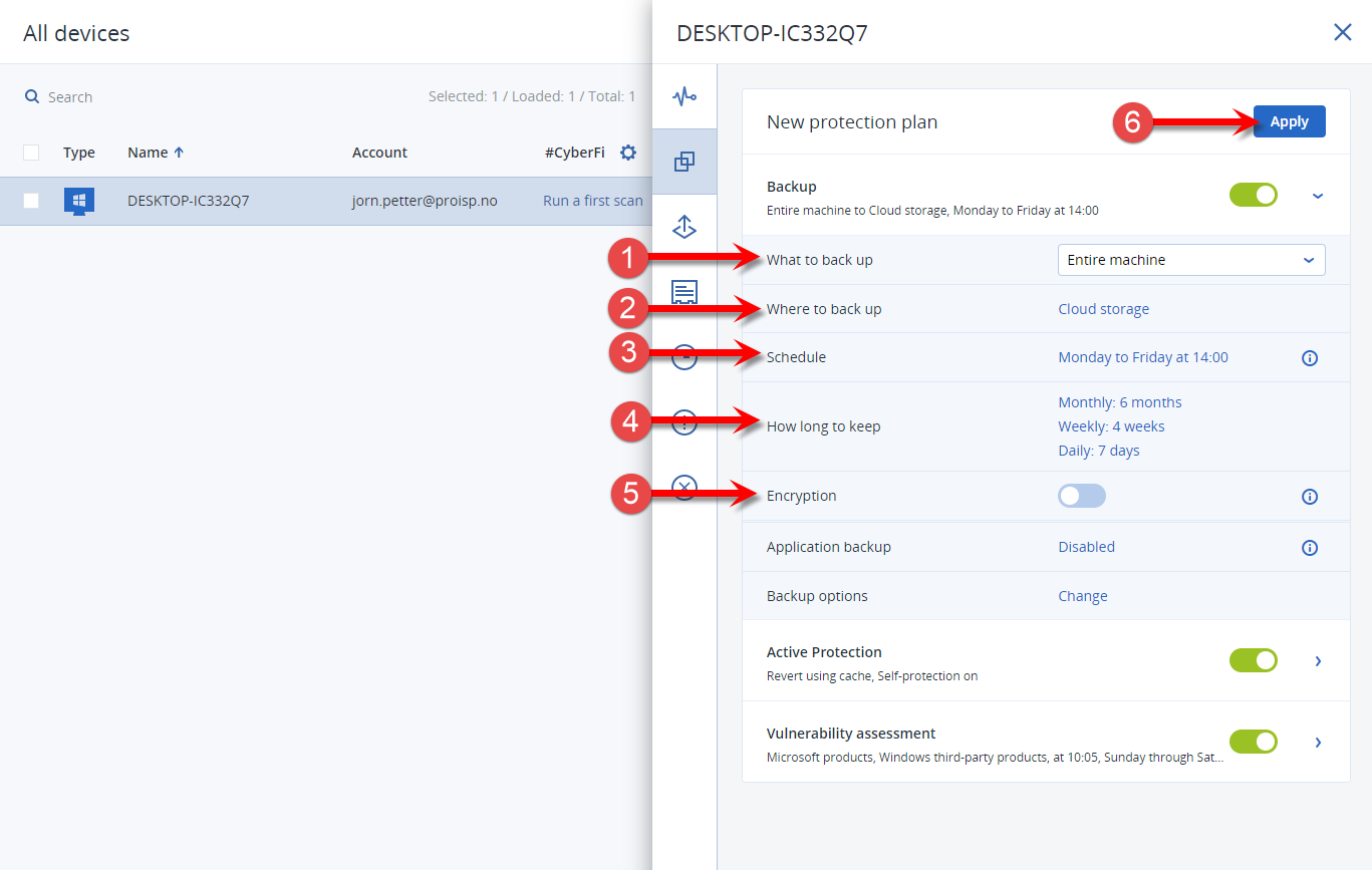 Walkthrough of the settings for a backup plan in Acronis Cyber Cloud